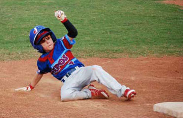 Child Sliding to Base - Baseball